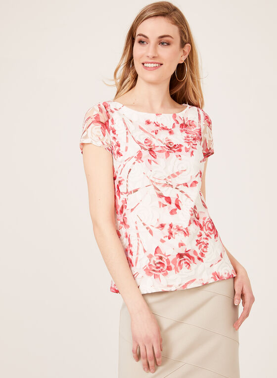 Floral Print Mesh Overlay Top, Orange, hi-res
