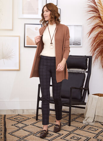 Pantalon pull-on étroit motif tartan, Gris,  pantalon, pull-on, étroit, tartan, point de rome, automne hiver 2020
