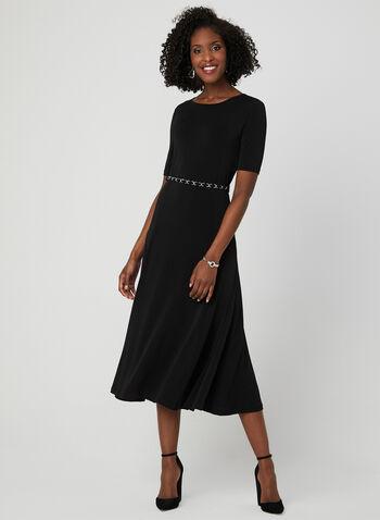 Nina Leonard - Fit & Flare Jersey Dress, Black, hi-res