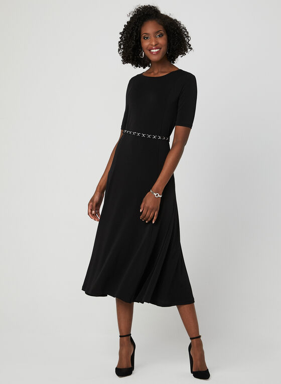Nina Leonard - Fit & Flare Jersey Dress, Black, hi-res