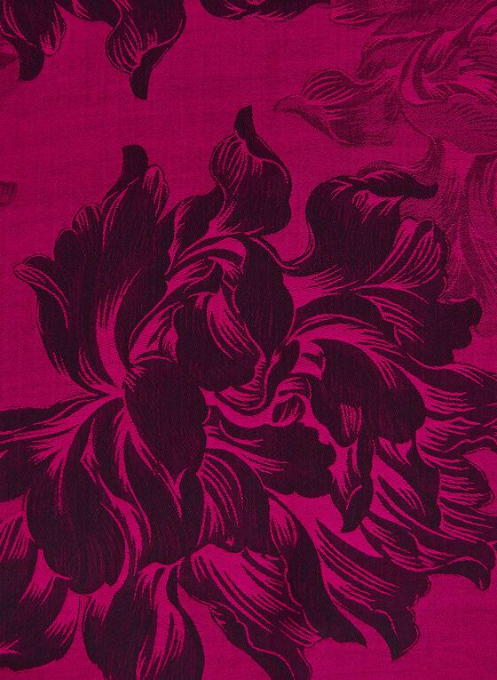 Floral Jacquard Reversible Scarf, Pink