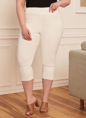 Capri pull-on à jambe étroite, Blanc cassé,  capri, pull-on, étroit, printemps été 2020