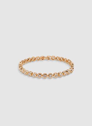 Crystal Tennis Bracelet, Gold, hi-res