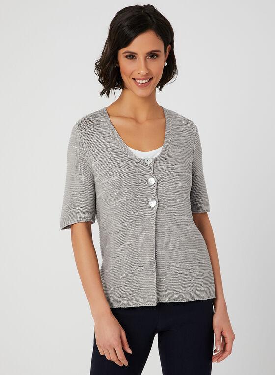 Alison Sheri - Cardigan en tricot à manches courtes, Gris