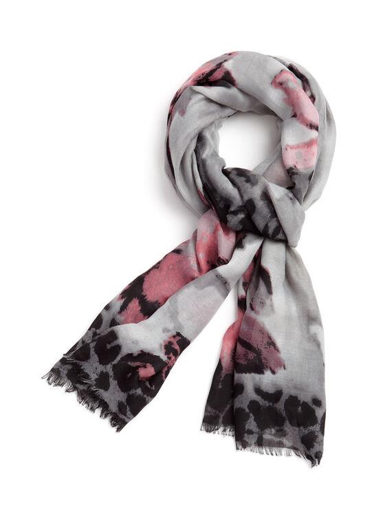Floral Animal Print Scarf, Pink, hi-res