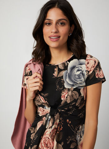 Short Sleeve Floral Print Blouse, Black,  canada, short sleeves, scoop neck, top, blouse, floral print, flower print, tie, keyhole, stretch, fall 2019, winter 2019