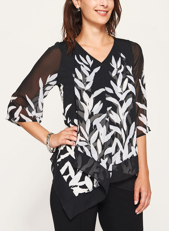 Leaf Print V-Neck Tunic, Black, hi-res