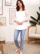 Haut en tricot crocheté à manches 3/4, Blanc