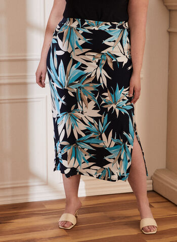 Tropical Print Pull On Skirt, Blue,  spring summer 2021, tropical print, midi, midi skirt, pull-on, pull on, elastic waist, flowy, flowing, flowy skirt, flowing skirt, side slit, made in Canada