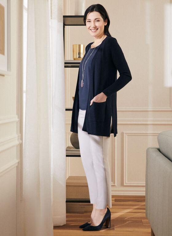 Long Sleeve Open Front Cardigan, Blue