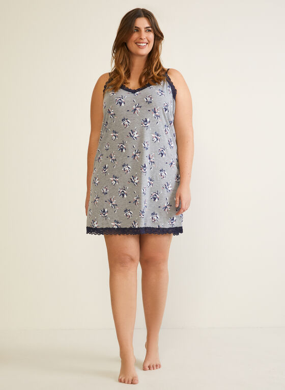 Floral Print Nightgown, Grey