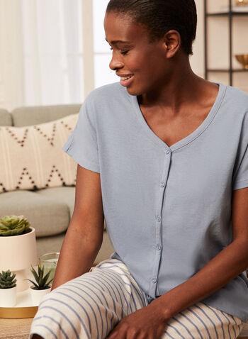 Top & Capris Pyjama Set, Blue,  pyjama, set, 2-piece, monochrome, stripe print, pull-on, button front, short sleeves, drawstring, capris, spring summer 2021
