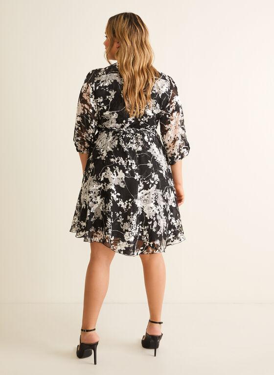 Robe portefeuille motif abstrait en soie, Noir