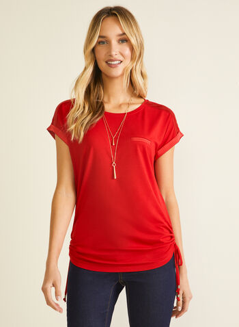 Satin & Tie Detail T-Shirt, Red,  t-shirt, short sleeves, scoop neck, satin, elastic, tie, jersey, spring summer 2020