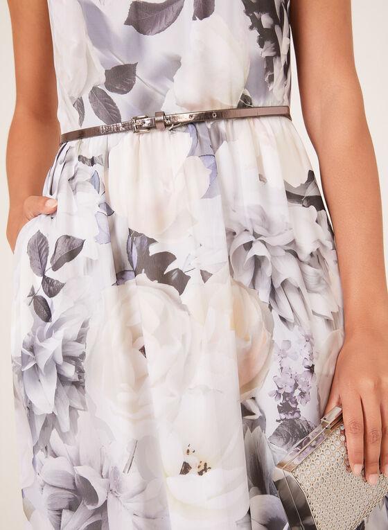 Floral Print Belted Maxi Dress, Grey, hi-res