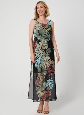 Robe longue à imprimé feuilles de palmier, Noir,  sans manches, encolure ronde, mousseline, jersey, tropical, motif, motifs, robe maxi, automne hiver 2019