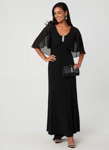 Chiffon Cape Dress, Black,  fall winter 2019, jersey fabric, A-line, cape