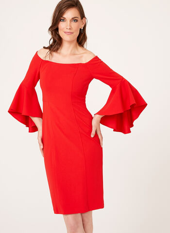 Off The Shoulder Bell Sleeve Dress, Red, hi-res