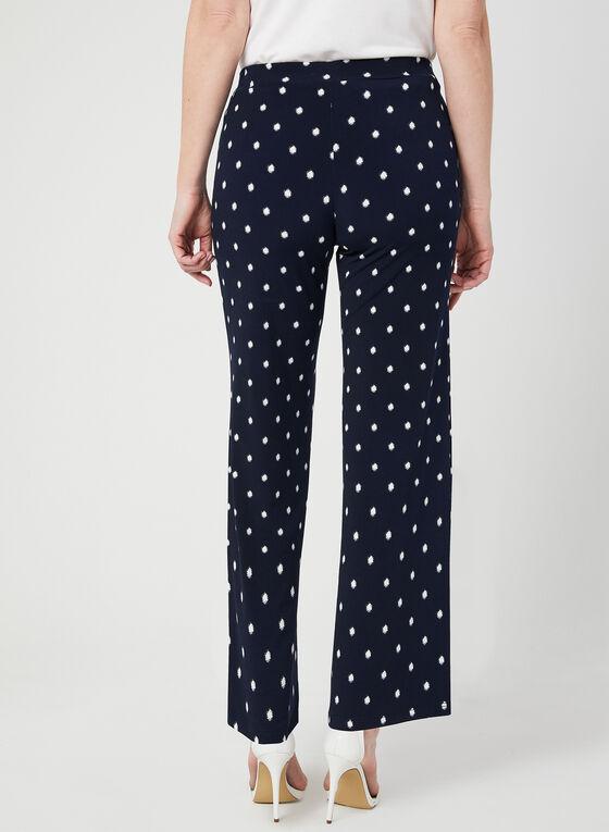Pantalon pull-on jambe large à pois, Bleu, hi-res