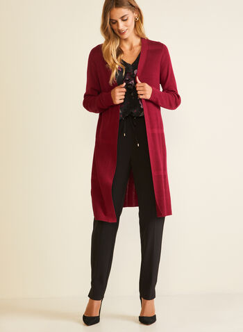 Long Knit Cardigan, Red,  cardigan, long, long sleeves, fall winter 2020