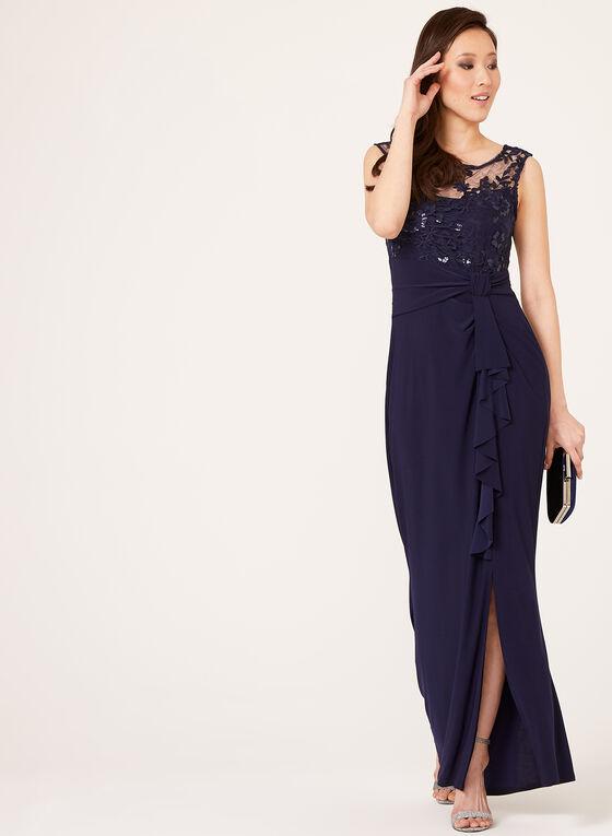 Marina - Robe drapée avec haut en dentelle et sequins, Bleu, hi-res