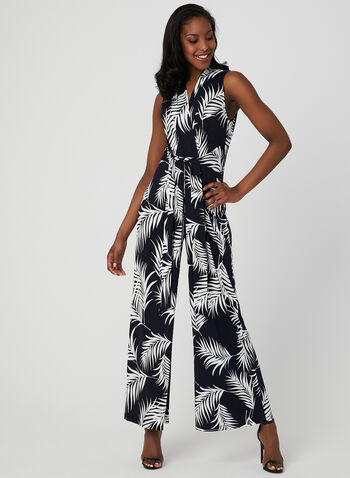 Leaf Print Jumpsuit, Blue, hi-res