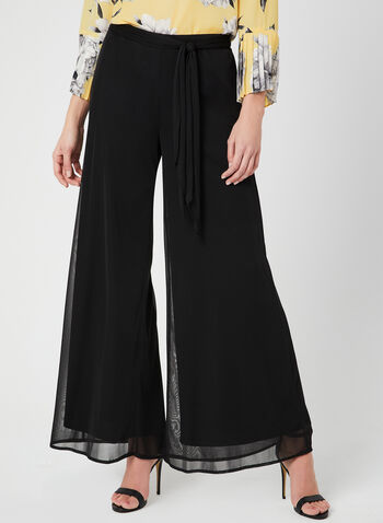 Signature Fit Wide Leg Pants, Black, hi-res,  mesh, sash, jersey, pull on