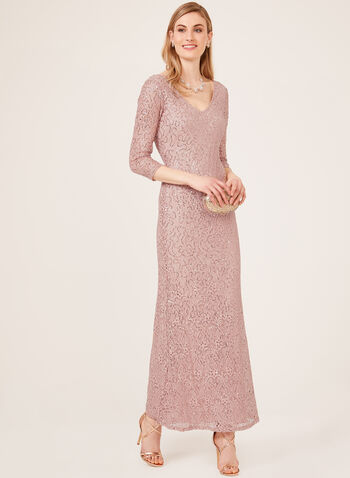 Marina - Sequin Lace ¾ Sleeve Gown, Pink, hi-res
