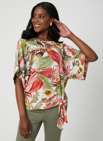 Palm Leaf Print Top, White, hi-res
