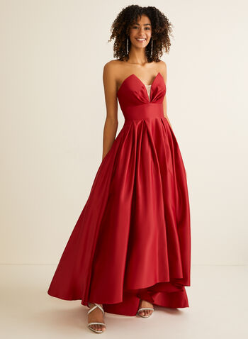 Strapless V-Neck Satin Ball Gown, Red,  prom, ball gown, strapless, v-neck, mesh, open back, pockets, crinoline, spring summer 2020