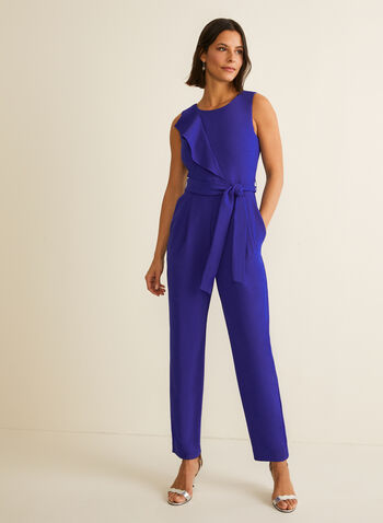 Sleeveless Slim Leg Jumpsuit, Blue,  jumpsuit, long jumpsuit, slim leg, sleeveless jumpsuit, sleeveless, spring 2020, summer 2020