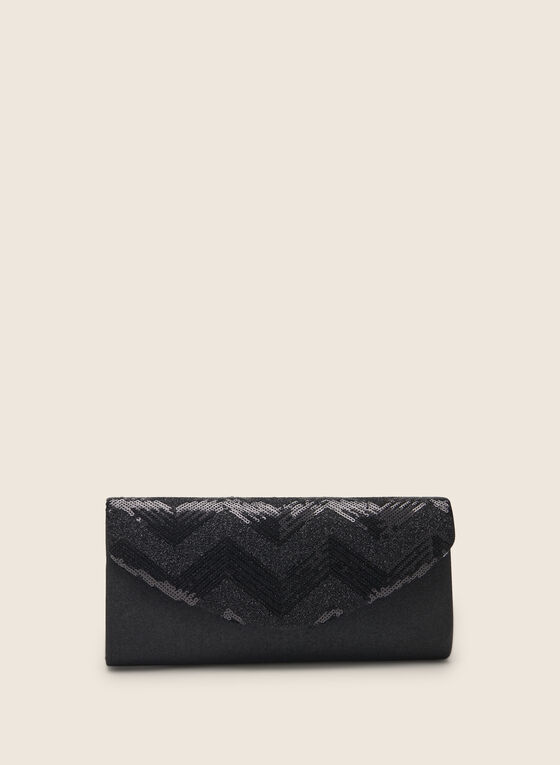 Sequin Envelope Clutch , Black