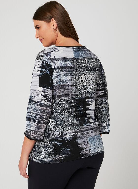 Haut motif tapisserie à détails lacets, Bleu, hi-res