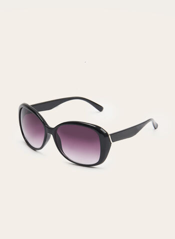 Large Round Plastic Sunglasses, Black, hi-res