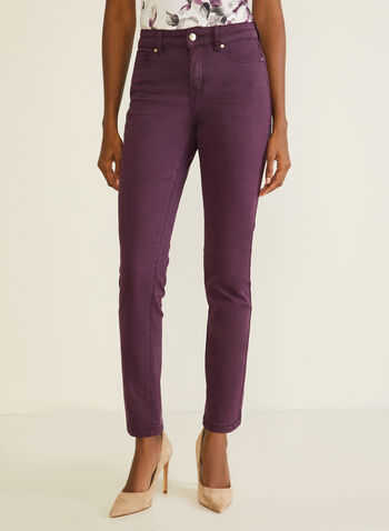 Jeans en denim à jambe droite, Violet,  jeans, denim, poches, droit, automne hiver 2020