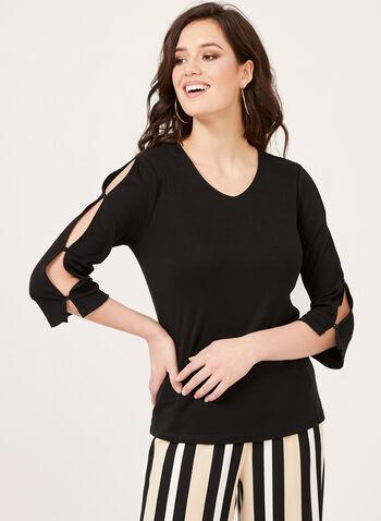Slit Sleeve T-Shirt, Black, hi-res