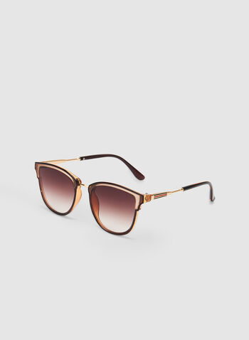 Plastic Frame Sunglasses, Brown, hi-res,  over the lens, metallic detail, tinted, spring 2019, summer 2019