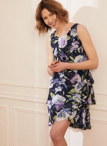 Robe volantée à motif floral , Bleu,  robe, fleurs, motif floral, sans manches, volants, étages, col arrondi, mousseline, printemps été 2021