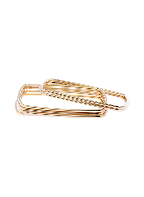 Square Set of Bangles, Gold, hi-res