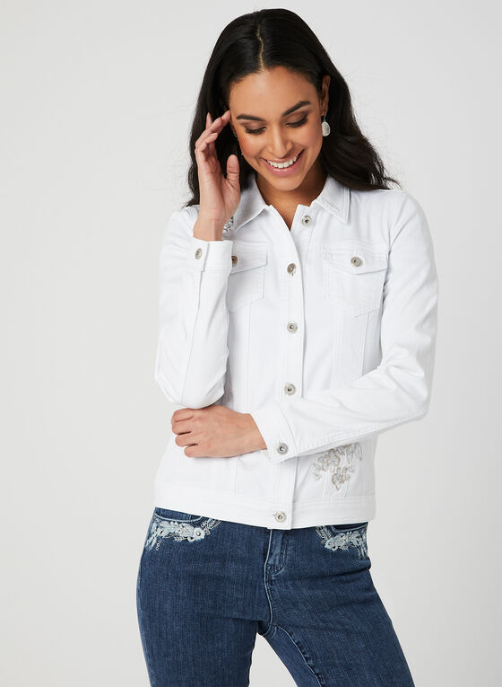 Embroidered Jean Jacket, White, hi-res