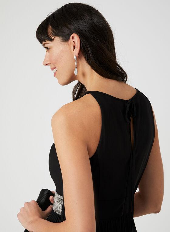 Robe longue à taille sertie de cristaux, Noir, hi-res