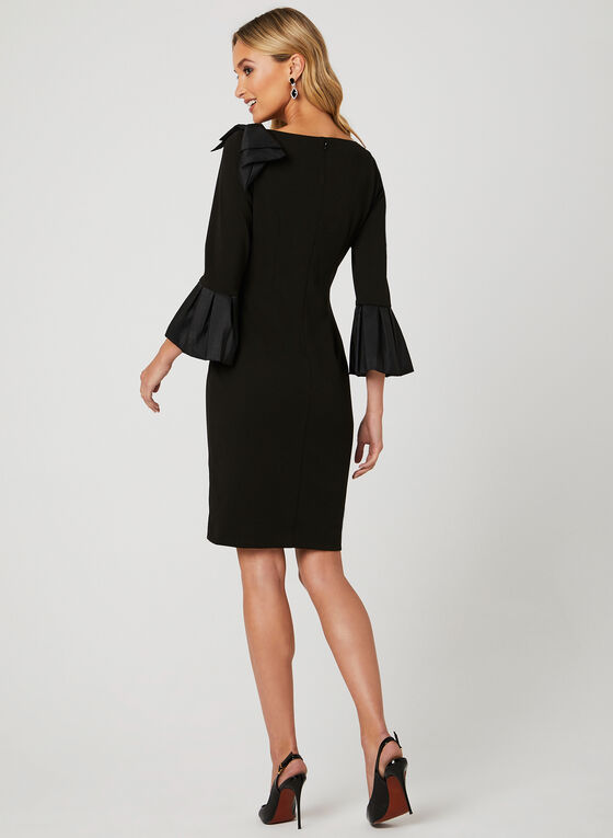 Bell Sleeve Crepe Dress, Black, hi-res