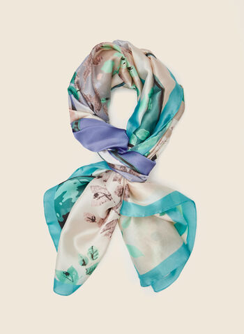 Watercolour Print Lightweight Scarf, Blue,  scarf, lightweight, floral, spring summer 2021