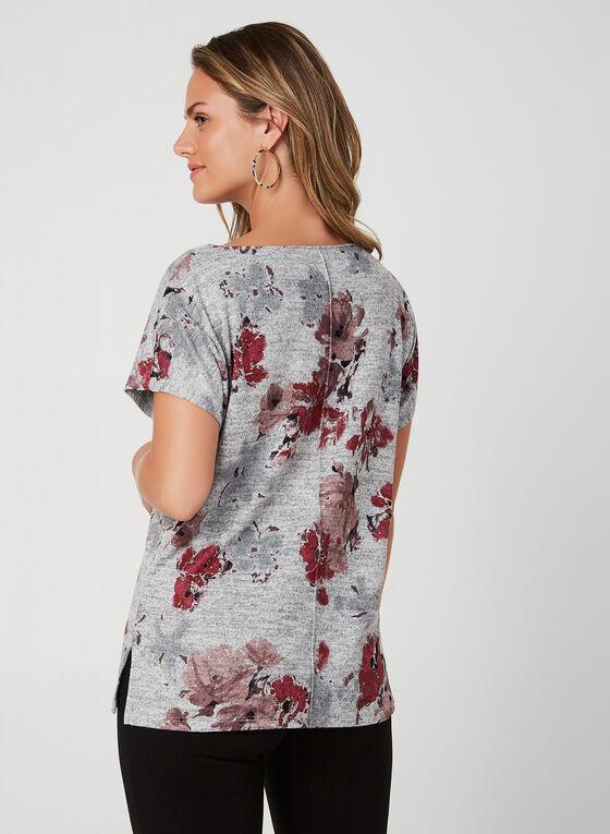Haut en tricot floral à manches courtes, Gris, hi-res