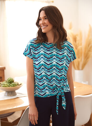 Chevron Print Top, Green,  spring summer 2021, tops, tees, made in Canada, scoop neck, round neck, knot detail, zig zag,