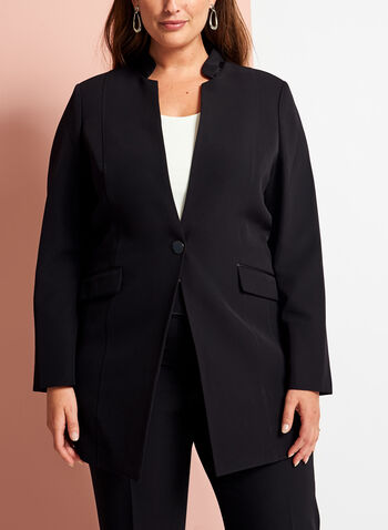 Open Front Single Button Jacket, Black, hi-res