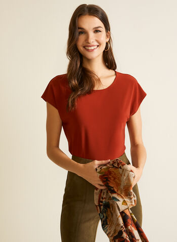 Basic Cap Sleeve Top, Orange,  fall winter 2020, top, round neck, cap sleeve, short sleeve, basic, made in Canada