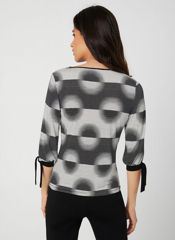 Geometric Print ¾ Sleeve Top, Black