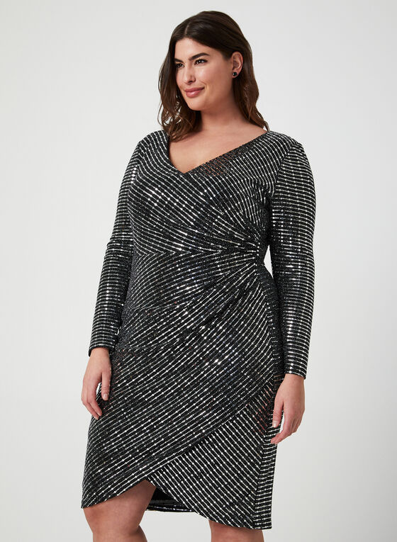 Metallic Faux Wrap Dress, Silver