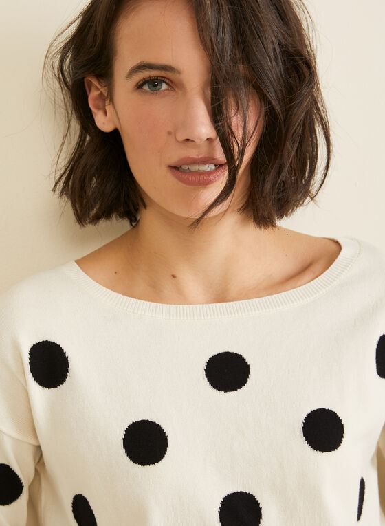 Boat Neck Jacquard Sweater , White